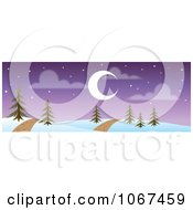 Clipart Path Through A Night Time Winter Landscape Banner Royalty Free Vector Illustration