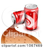 Clipart 3d Red Cola Cans One Spilling Royalty Free Vector Illustration