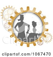 Clipart Silhouetted Steampunk Couple In Gears Royalty Free Vector Illustration by mheld #COLLC1067470-0107