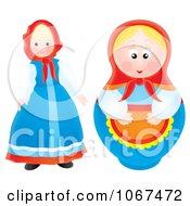 Clipart Two Dolls Royalty Free Illustration by Alex Bannykh
