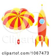 Clipart Parachute And Rocket Royalty Free Illustration