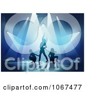 Clipart Three Dancers In The Spotlights Royalty Free Vector Illustration