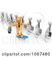 Clipart 3d Orange Businessman Skateboarding Past A Line Royalty Free CGI Illustration