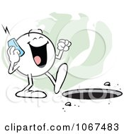 Clipart Moodie Character Talking On A Phone And Walking Towards A Hole 2 Royalty Free Vector Illustration