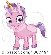 Clipart Happy Baby Purple Unicorn Royalty Free Vector Illustration