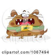 Clipart Round Fat Dog Royalty Free Vector Illustration