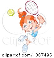 Tennis Girl Leaping To Hit A Ball
