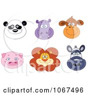 Clipart Smiling Animal Faces Royalty Free Vector Illustration by yayayoyo
