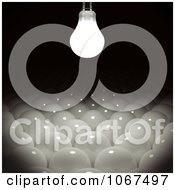 Clipart 3d Lightbulb Glowing Over Bulbs Below Royalty Free CGI Illustration by stockillustrations