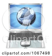 Clipart 3d Laptop With A Globe On The Screen Royalty Free Vector Illustration