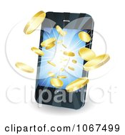 Clipart 3d Gold Coins Bursting Out Of A Cell Phone Royalty Free Vector Illustration by AtStockIllustration