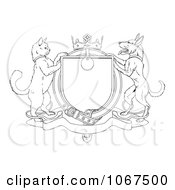Outlined Cat And Dog Heraldic Coat Of Arms Shield