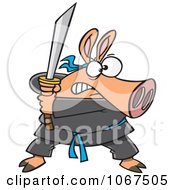 Clipart Ninja Pig With Sword Royalty Free Vector Illustration by Ron Leishman