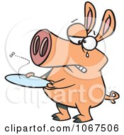 Clipart Pig With An Empty Plate Royalty Free Vector Illustration