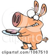 Clipart Pig With Meat On A Plate Royalty Free Vector Illustration