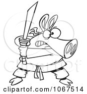 Clipart Outlined Ninja Pig With Sword Royalty Free Vector Illustration