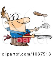 Clipart Man Flipping A Flapjack Royalty Free Vector Illustration by toonaday