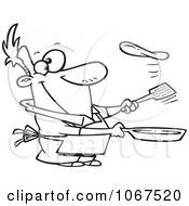 Clipart Outlined Man Flipping A Flapjack Royalty Free Vector Illustration by toonaday