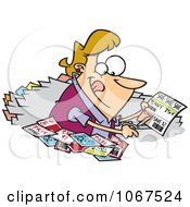 Clipart Woman Clipping Coupons Royalty Free Vector Illustration by toonaday