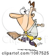 Clipart Businessman Running With A File Royalty Free Vector Illustration