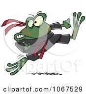 Clipart Ninja Frog Kicking Royalty Free Vector Illustration by toonaday