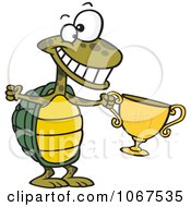 Clipart Tortoise Champ With A Trophy Royalty Free Vector Illustration