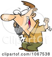 Clipart Man Hearing Good News On The Phone Royalty Free Vector Illustration