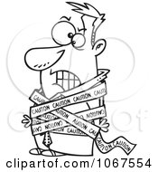 Clipart Outlined Businessman Tied In Caution Tape Royalty Free Vector Illustration