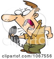 Clipart Irate Man Screaming Into The Phone Royalty Free Vector Illustration by toonaday