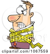 Clipart Businessman Tied In Caution Tape Royalty Free Vector Illustration by toonaday