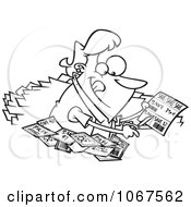 Outlined Woman Clipping Coupons