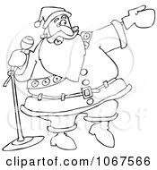 Clipart Outlined Santa Introducing Royalty Free Vector Illustration by djart