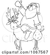 Clipart Outlined Santa On A Reindeer Royalty Free Vector Illustration by djart