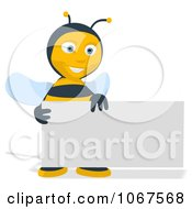Clipart Bee With A Blank Business Card Royalty Free Illustration
