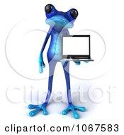 3d Blue Springer Frog With A Laptop 1