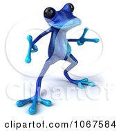 Clipart 3d Blue Springer Frog Dancing 3 Royalty Free CGI Illustration