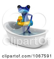 Clipart 3d Blue Springer Frog In A Tub With An Inner Tube 3 Royalty Free CGI Illustration
