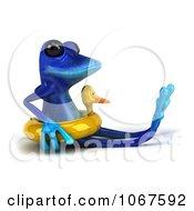 Clipart 3d Blue Springer Frog With An Inner Tube 4 Royalty Free CGI Illustration