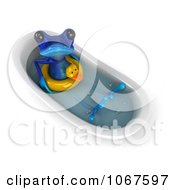 Clipart 3d Blue Springer Frog In A Tub With An Inner Tube 5 Royalty Free CGI Illustration