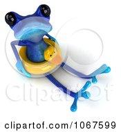 Clipart 3d Blue Springer Frog With An Inner Tube 5 Royalty Free CGI Illustration