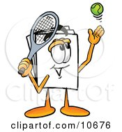 Clipart Picture Of A Paper Mascot Cartoon Character Preparing To Hit A Tennis Ball by Toons4Biz