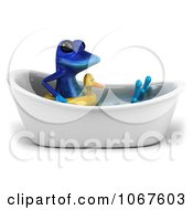 Clipart 3d Blue Springer Frog In A Tub With An Inner Tube 4 Royalty Free CGI Illustration