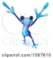 3d Blue Springer Frog Jumping 1