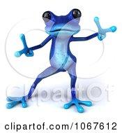 Clipart 3d Blue Springer Frog Dancing 2 Royalty Free CGI Illustration