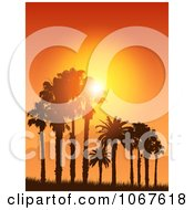 Clipart Tropical Sunset Silhouetting Palm Trees Royalty Free Vector Illustration