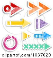 Clipart Colorful Sketched Arrow Stickers Royalty Free Vector Illustration by KJ Pargeter
