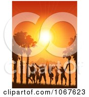 Clipart Silhouetted People Dancing Against A Tropical Sunset Royalty Free Vector Illustration