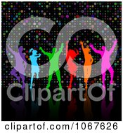 Clipart Colorful Silhouetted People Dancing Over Dots Royalty Free Vector Illustration