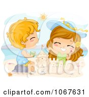 Clipart Summer Kids Making A Sand Castle Royalty Free Vector Illustration
