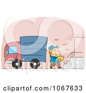Clipart Delivery Man Carrying A Box Up Stairs Royalty Free Vector Illustration